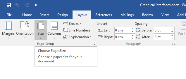 Fig. 3. Example of a tooltip in Word.