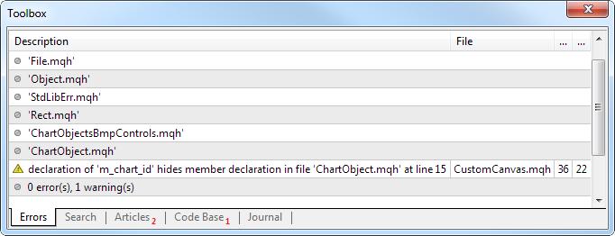 Fig. 1. Advertencia del compilador diciendo que la variable con este nombre ya existe.