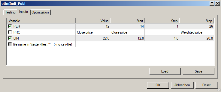 Fig. 21 StratTester-Setup EA Options reduced