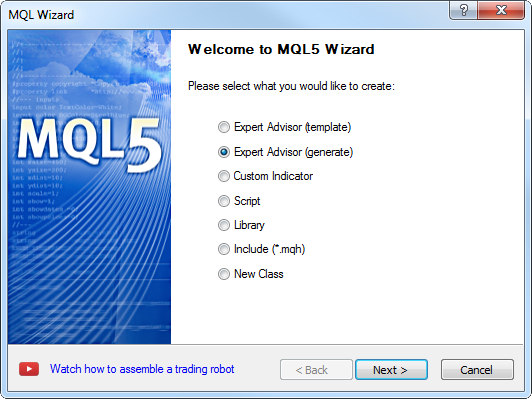 Figure 18. MQL Wizard - step 1