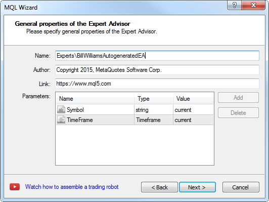 Creating Expert Advisor - step 2