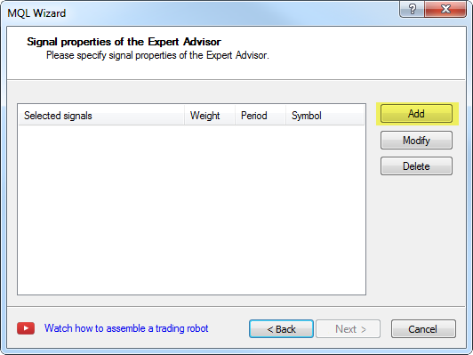 Creating Expert Advisor - step 3