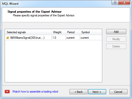 Creating Expert Advisor - step 6