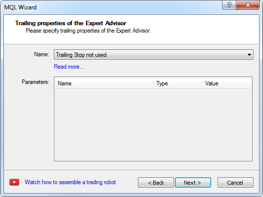 Creating Expert Advisor - step 7