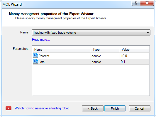 Creating Expert Advisor - step 8