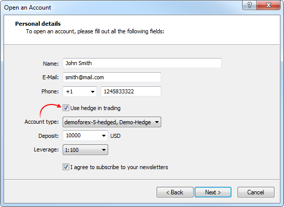 Opening the demo account with hedging