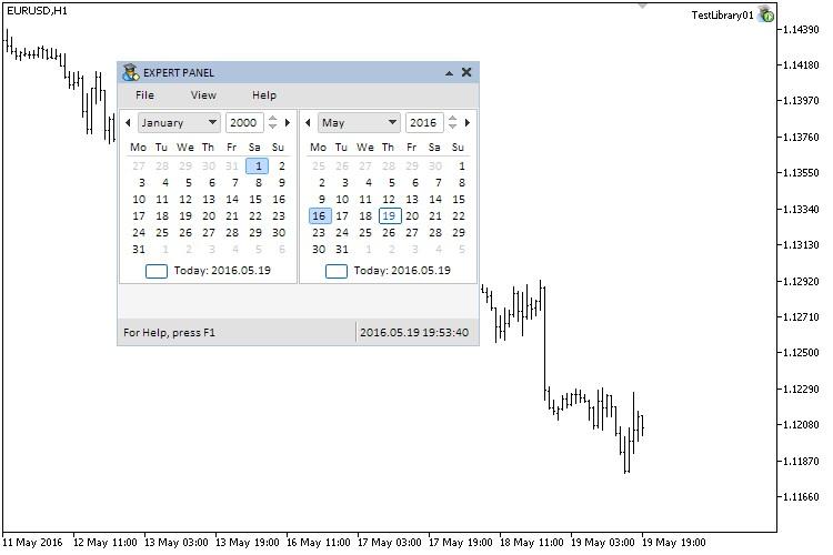 Fig. 2. Testing the calendar control.