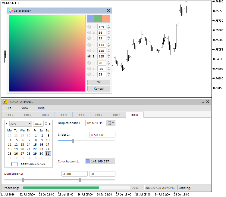 Fig. 12. Color palette control in the main chart window