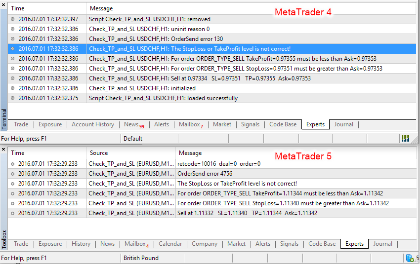 Metatrader zero loading divide error while