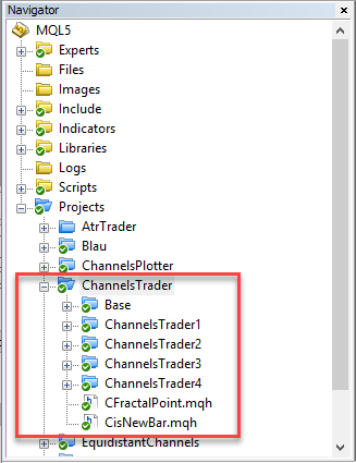 Fig.4 Example of project folder hierarchy for the channels strategy