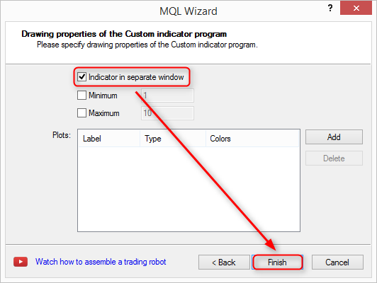 Language Editor Custom Indicator Drawing Properties