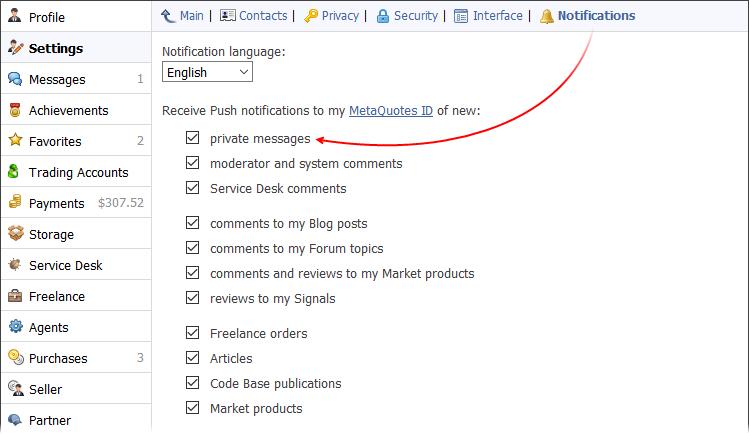 Configuración de las notificaciones sobre eventos en MQL5.community