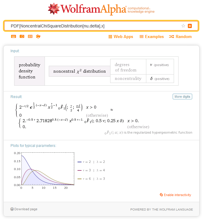 Fig. 5. Definition of the probability density of the Noncentral Chi-Square distribution in Wolfram Alpha