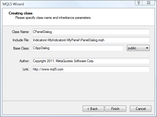 Creating new class in MQL Wizard