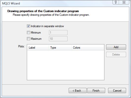 Setting indicator drawing properties in MQL Wizard