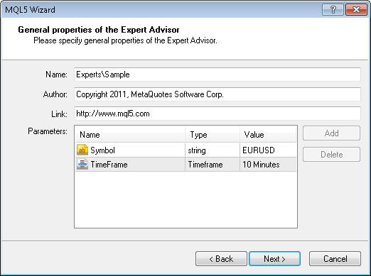 图 4. EA 交易程序的一般属性