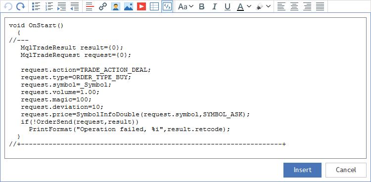 Quellcode in eine Nachricht einfügen