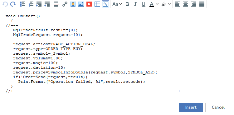メッセージにソースコードを挿入します。