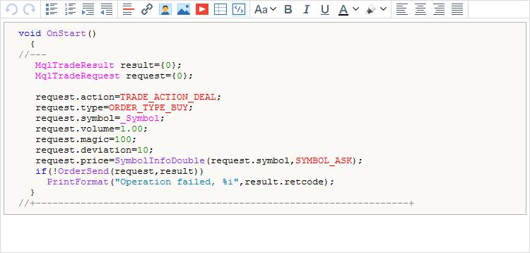 El código fuente en el texto de un mensaje