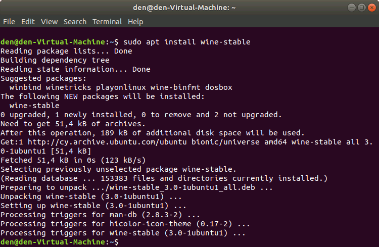 Installing Wine from the Command Line