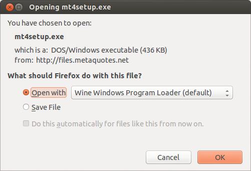 Opening MetaTrader 5 installation package via Wine