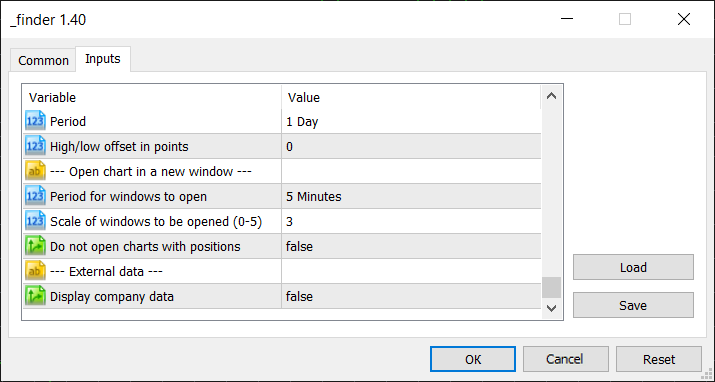Opening a chart in a new window and External data setting groups