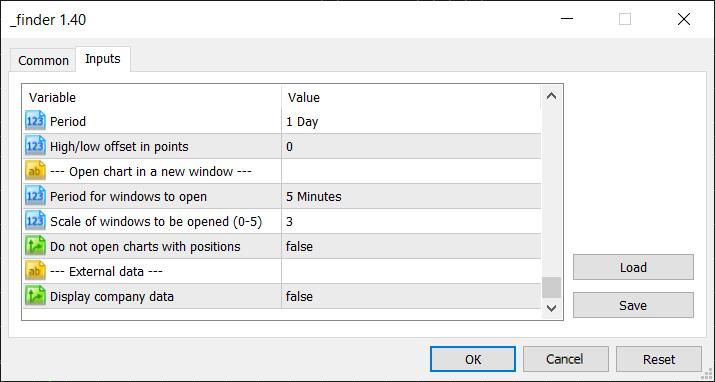 Öffnen eines Charts in einem neuen Fenster und Einstellungsgruppen für externe Daten