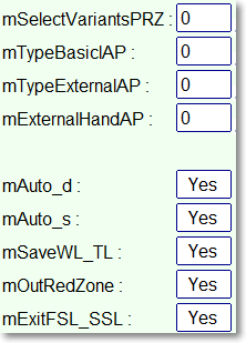 Parameters for a choice of types of tags