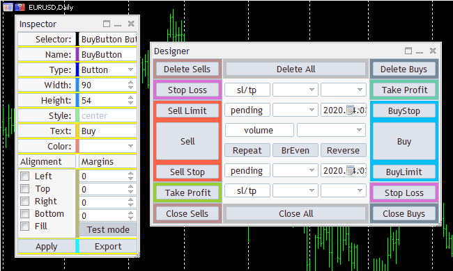 Trade Panel Layout: Color-Cube-Trade-Panel