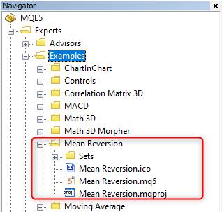 ナビゲータでのMeanReversionプロジェクトの場所