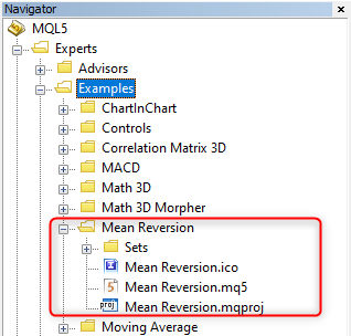 MeanReversion Projektstandort im Navigator