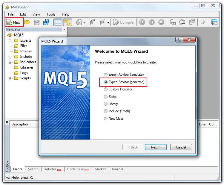 "Figure 1. Creating New File (select ""generate"" option in Wizard)"