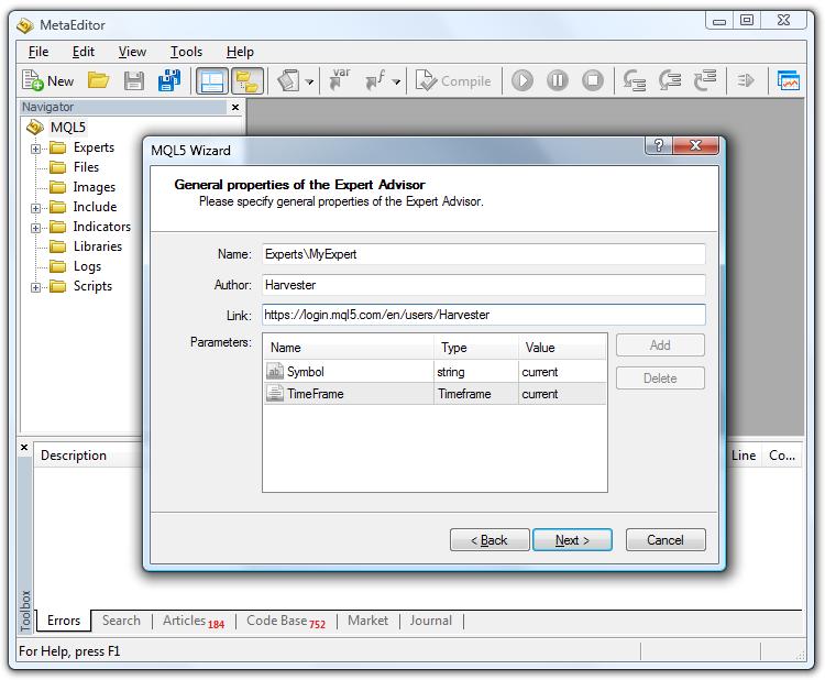 Dibujo 2. Nombre y parámetros de un asesor, generado en el Asistente MQL5