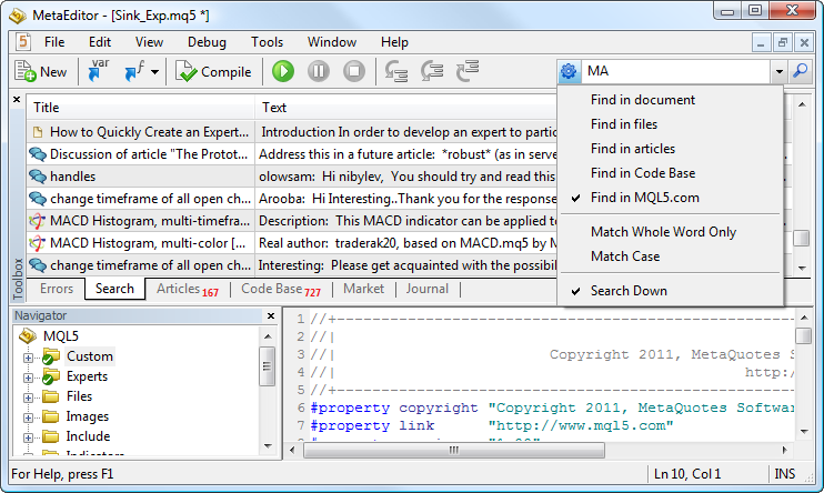 Search system in MetaEditor 5
