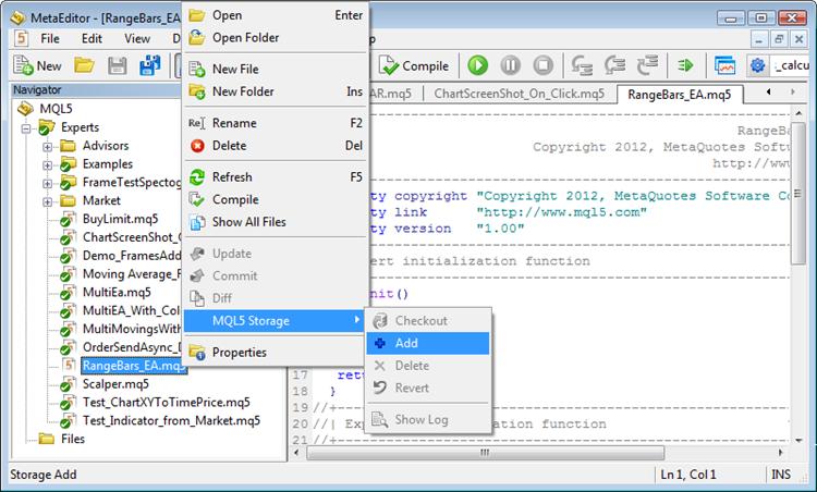 Добавление файла в MQL5 Storage