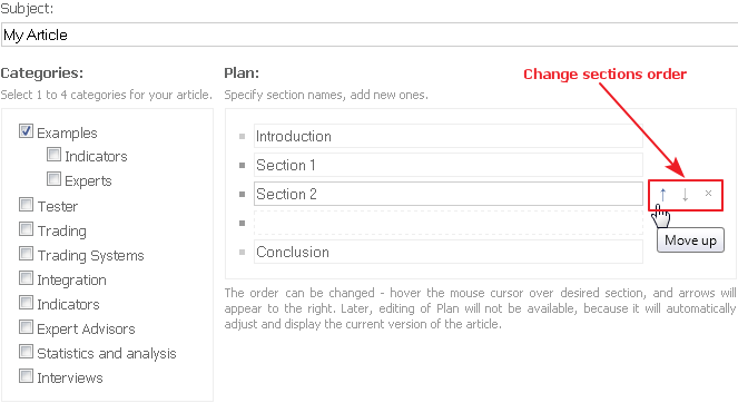 Changing the order of the sections