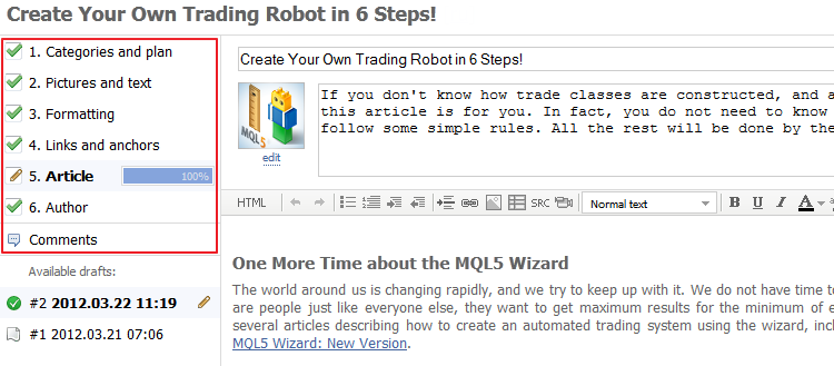 New Article Publishing System at the MQL5.community