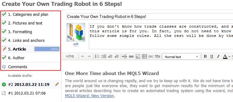 Nuevo sistema de publicación de artículos en MQL5.community