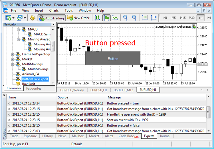 A simple example of event handling in MQL5 program