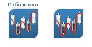 Рис. 9. Логотипы: автоматически созданный из картинки 200x200 и картинка 60x60, подготовленная вручную