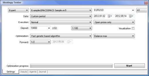 含有 MACD 示例的设置参数的策略测试程序