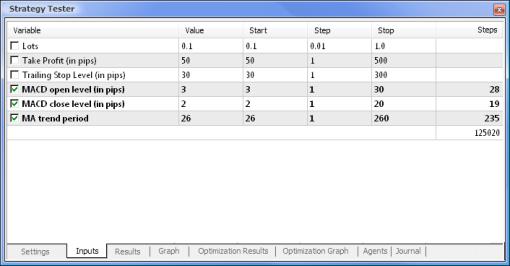 Establecer los parámetros y sus respectivos rangos a optimizar