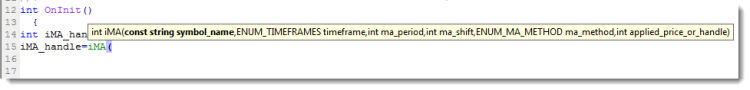 """""""移动平均线""""指标参数的工具提示示例"""