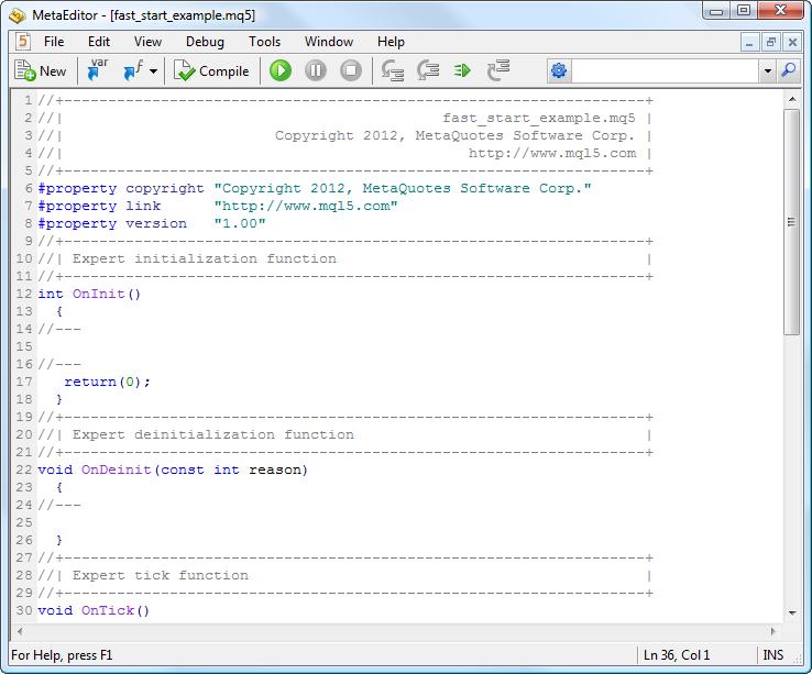MetaEditor 中默认生成的新文档示例