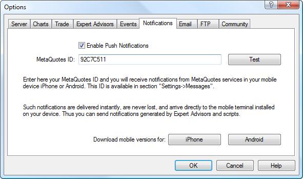 Configuración de las notificaciones Push en el terminal de cliente