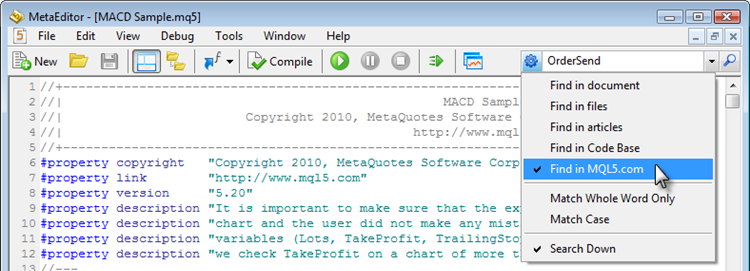 Setting search parameters in MetaEditor 5