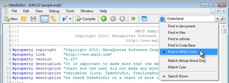 Настройка параметров поиска в редакторе MetaEditor 5