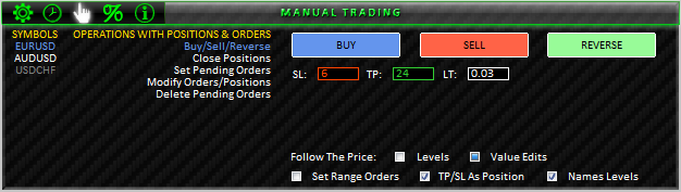 Fig. 38. MANUAL TRADING; BUY/SELL/REVERSE section