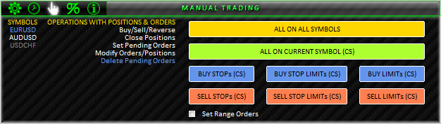 図44. MANUAL TRADING; DELETE PENDING ORDERS セクション