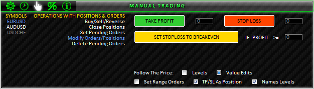 Fig. 43. MANUAL TRADING; MODIFY ORDERS/POSITIONS section